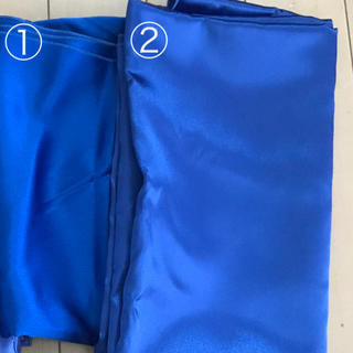 光沢のあるブルーの生地 2枚セット(生地/糸)
