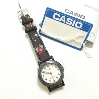 カシオ(CASIO)のCASIO ☆ キッズ ☆ 腕時計 ☆ 花柄 ☆ブラック(腕時計)
