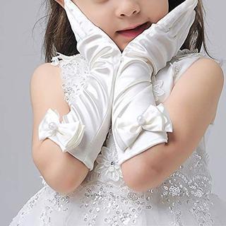 専用☆2点☆子供用サテン手袋リボン白発表会おゆうぎ会フラワーガール(手袋)