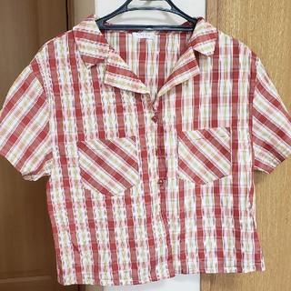 赤チェック柄シャツ(シャツ/ブラウス(半袖/袖なし))