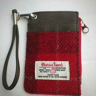 ハリスツイード(Harris Tweed)のハリスツイード赤ブラウン系小物入れパスケース(名刺入れ/定期入れ)