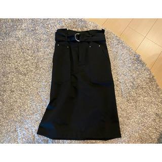 ミスティウーマン(mysty woman)の膝下ストレートスカート チノ素材 ブラック(ひざ丈スカート)