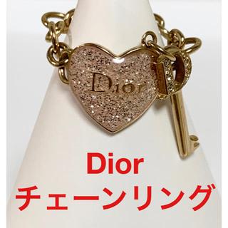 ディオール(Dior)の★美品★ディオール ハート 鍵 チェーンリング ピンク×ゴールド #6 12号(リング(指輪))