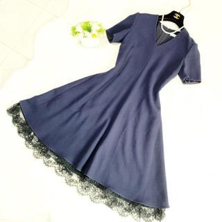 クリスチャンディオール(Christian Dior)の美品 ディオール お刺繍 レディ ワンピース ドレス(ひざ丈ワンピース)