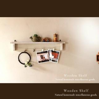 ハンドメイド アンティーク風 ウォールシェルフ クリップ付き ホワイト 木製(家具)