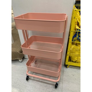 イケア(IKEA)のRASKOG ロースコグ ワゴン, ピンクレッド(キッチン収納)