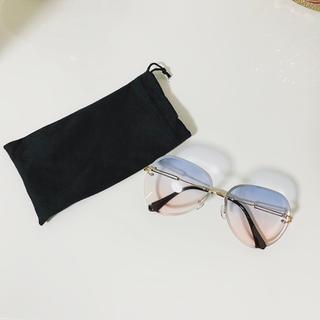 【訳ありのため激安‼️】リムレスサングラス グレー ティアドロップ  UV400(サングラス/メガネ)