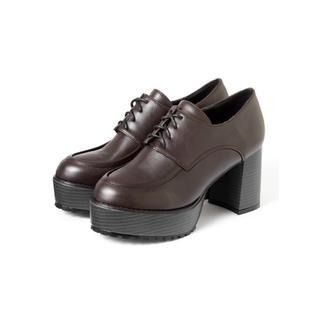 グレイル(GRL)のGRL チャンキーヒールレースアップシューズ ブラウン 人気 ローファー(ローファー/革靴)