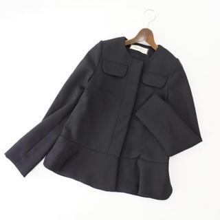 マルニ(Marni)のMARNI マルニ M ノーカラージャケット ペプラム 黒 ビジネス フォーマル(ノーカラージャケット)