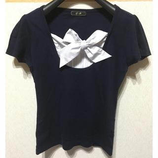エフデ(ef-de)のef-de♡リボンタイ付Tシャツ ネイビー(カットソー(半袖/袖なし))