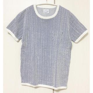 ジャーナルスタンダード(JOURNAL STANDARD)のRiding High ストライプ柄 半袖カットソー Tシャツ ブルー 日本製(カットソー(半袖/袖なし))