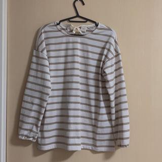 サマンサモスモス(SM2)のSM2*圧縮ウールボーダーリボンプルオーバー(Tシャツ(長袖/七分))