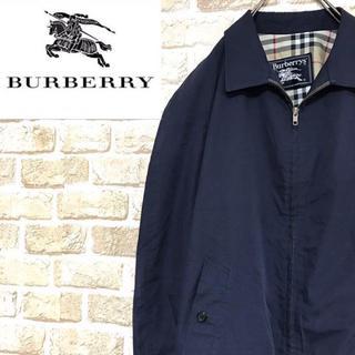 バーバリー(BURBERRY)の【バーバリー】Burberry 刺繍ロゴブルゾンジャケット ノバチェック 濃紺(ブルゾン)