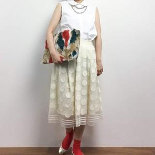 ドットアンドストライプスチャイルドウーマン(Dot&Stripes CHILDWOMAN)のオーガンジー ドットボーダー刺繍 タックスカート(ひざ丈スカート)