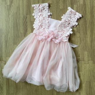 キッズドレス♡チュールドレス 100 フラワーパールレース(ドレス/フォーマル)