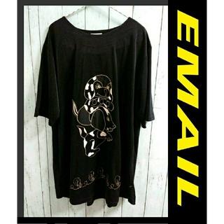 アートコレクション(Art Collection)のEMAIL  アニマル ビッグサイズ わんこ Tシャツ  黒 ニット ワンピース(Tシャツ(半袖/袖なし))