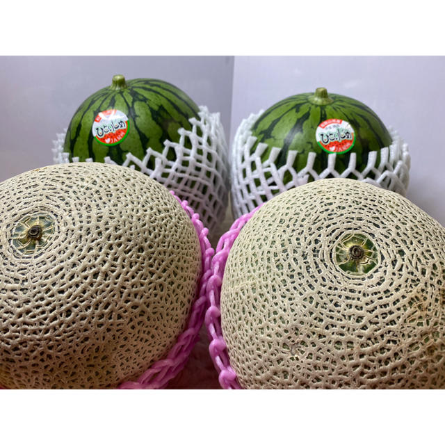 ひとりじめ西瓜🍉2玉 赤肉メロン🍈2玉 セット 食品/飲料/酒の食品(フルーツ)の商品写真
