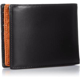 二つ折り財布 15枚収納 BOX型小銭入れ レザー メンズ ブラック/オレンジ(折り財布)