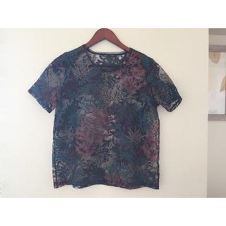 ザラ(ZARA)のZARA 刺繍が綺麗なシースルーシャツ(シャツ/ブラウス(半袖/袖なし))