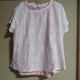 シマムラ(しまむら)の新品 KUU 白 花レース 半袖 オレンジタンクトップ Lサイズ 2枚セット(Tシャツ(半袖/袖なし))