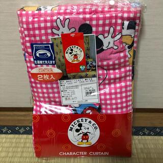 ディズニー(Disney)の【ミッキー カーテン ピンク】 100X260cm 2枚入 ¥6500 洗濯OK(カーテン)