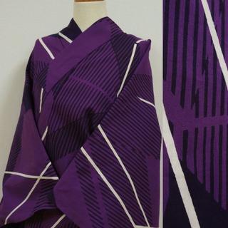 濃い紫色に幾何学な縞 注染浴衣(浴衣)