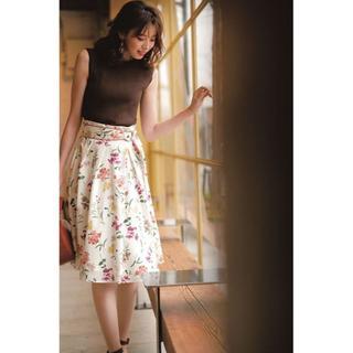 アプワイザーリッシェ(Apuweiser-riche)のアプワイザーリッシェ♡ミックスフラワータックスカート♡コーラルピンク(ひざ丈スカート)