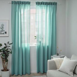 イケア(IKEA)の【美品】IKEAカーテン1枚★ヒリア★ターコイズ145x250cm(カーテン)