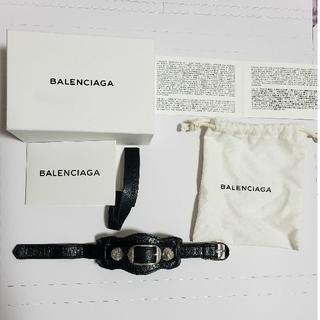 バレンシアガ(Balenciaga)のバレンシアガ ブレスレット レザー ブラック 黒 シルバー(ブレスレット/バングル)