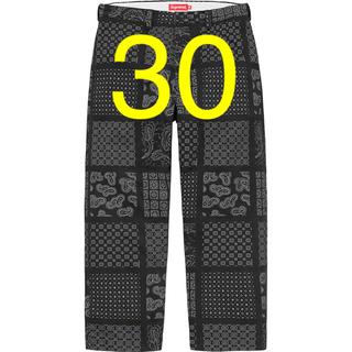 シュプリーム(Supreme)のPaisley Grid Chino Pant 30インチ  Black 黒(チノパン)