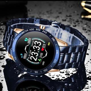 【人気のデザインゴールド&ブルー】デジタルスマートウォッチ(腕時計(デジタル))