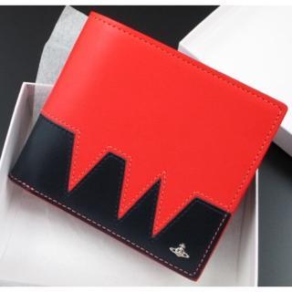 ヴィヴィアンウエストウッド(Vivienne Westwood)の新品★箱付 ヴィヴィアンウエストウッド かぶせ 折り財布 ネイビー×オレンジ(折り財布)