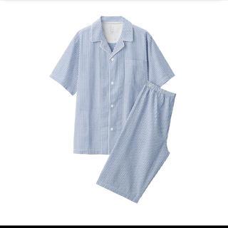ムジルシリョウヒン(MUJI (無印良品))の無印良品脇に縫い目のない サッカー織り半袖パジャマ 紳士L・ブルー×ストライプ(その他)
