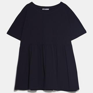ザラ(ZARA)の!保留中! ZARA ペプラムフリル付きTシャツ ブラック M(Tシャツ(半袖/袖なし))