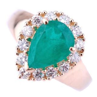 ポンテヴェキオ PV 大粒 エメラルド ペアシェイプ ダイヤモンド リング   (リング(指輪))