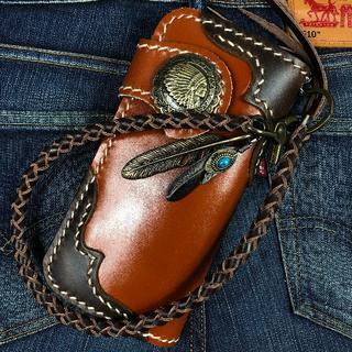本革 牛革 財布 ハンドメイド レザークラフト 一点物 イーグル オレンジ(折り財布)