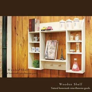 ハンドメイド アンティーク加工 シェルフ 木製 棚 ホワイト(家具)