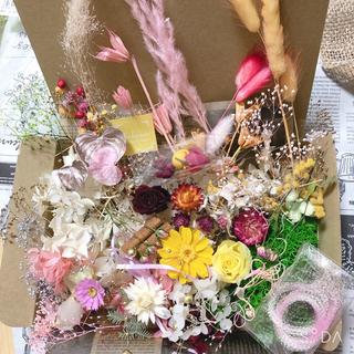 77 感謝sale❤️!!大量 花材セット ピンクイエロー ジニア ローズ (ドライフラワー)