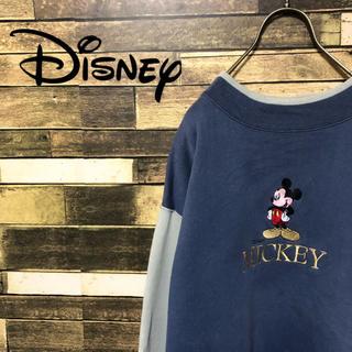ディズニー(Disney)の90's ディズニー 切り替えミッキー ビッグロゴ スエットトレーナー(スウェット)