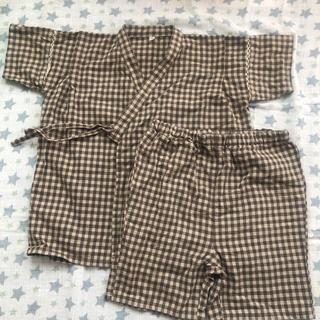 ムジルシリョウヒン(MUJI (無印良品))の無印良品 甚平 130cm ブラウンチェック(甚平/浴衣)