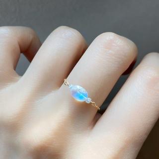 【14KGF】レインボームーンストーン×ダイヤモンドのチェーンリング(リング)