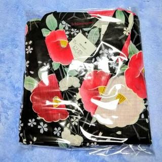 【新品】甚平 レディース セパレート 花柄  じんべい  椿 つばき ブラック(浴衣)