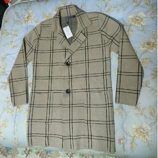 【新品】高密度ニット袖素材 トラッドチェック柄 カバーオール ジャケット(カバーオール)