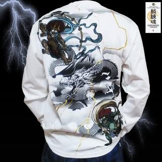 カラクリタマシイ(絡繰魂)の261510-10-XL【絡繰魂】風神雷神刺繍 ロングTシャツ(Tシャツ/カットソー(七分/長袖))