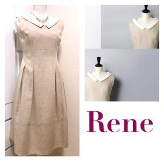 ルネ(René)のルネ✨人気のリネンベル✨白襟お嬢様ドレス✧*。コレクションブック掲載✧定6.5万(ひざ丈ワンピース)