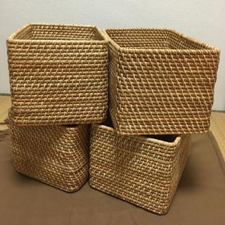 ムジルシリョウヒン(MUJI (無印良品))の無印 ラタン長方形バスケット大サイズ4個セット⭐︎新品未使用品⭐︎(バスケット/かご)