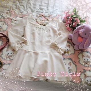 ピンキーガールズ(PinkyGirls)の♡Pinky Girlsピンキーガールズ♡袖リボンブラウス♡(シャツ/ブラウス(長袖/七分))
