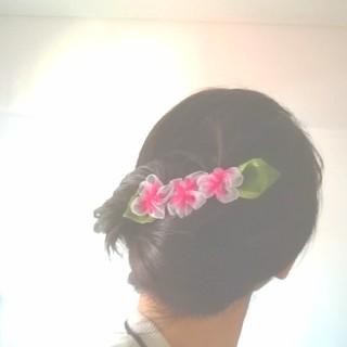 ラッピング送料無料☆ハイビスカスのヘアクリップ バレッタ ピンク リボンフラワー(ヘアアクセサリー)