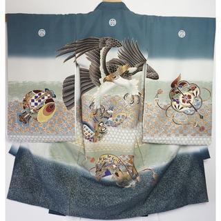 【祝い着】産着 鷹柄 正絹 日本製 金彩 紺色 男の子 お宮参り 005(お宮参り用品)