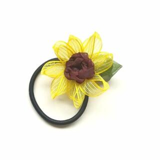 ラッピング送料無料☆オーガンジーリボンの向日葵の一輪ヘアゴム大  リボンフラワー(ヘアアクセサリー)